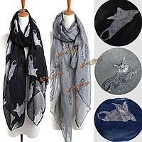 Женщины дамы кошки животных печати шарф шеи теплой шали обруча украла пашмины