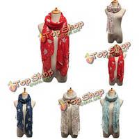Женщины леди сороки шарф цветок птица дерево филиал печати обертывания долго платок теплый пашмины