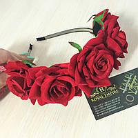 """Венок """"Роза"""" с шикарными большими розами. Металл, Для женщин, Цветы, Китай, 60, красный"""