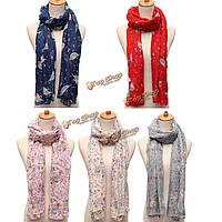 Женщины дамы шифон птица цветок напечатанный шарф палантина шали пашмины
