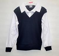 Рубашка-обманка для школы мальчику 6-12 лет ATABAY белая