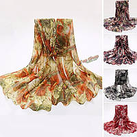 Женщины дамы листья клена напечатанные Voile scraves украл длинный мягкий обруча шали