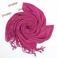 Женщины дамы кашемир имитация шелка кисточка бахрома шаль обернуть длинный диапазон шарф пашмины