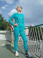 Трикотажный спортивный костюм женский без молнии Турция стразы бирюза
