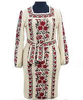 Красочное и непревзойденное женское вышитое платье Красный, Лен, Длинный, 50