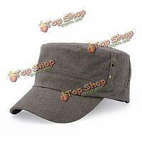 Унисекс мужчины женщины хлопковая смесь военная армия бейсболка плоской пряжкой регулируемые Snapback шляпа
