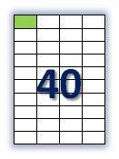 Этикеток на листе А4: 40 шт. Размер: 52,5х29,7 мм.