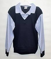 85101ebeae7 Рубашка-обманка для школы мальчику 6-12 лет ATABAY голубая