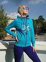 Спортивный трикотажный костюм женский Billcee с капюшоном на молнии Billcee бирюза - сирень Турция