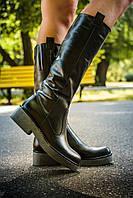 Сапоги кожаные черного цвета  цвета на подошве темно-серого цвета на узкую ногу