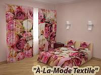 """ФотоКомплект """"Pink dream"""" покрывало и шторы"""