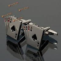 Мужчины мужчины серебряный узор покер эмаль прямоугольник Запонки свадебный подарок костюм рубашка аксессуары