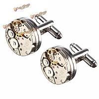 Мужчины мужские рубашки аксессуары серебряные часы механические модели голый Запонки свадебный подарок костюм