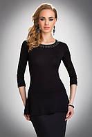 Женская блуза из вискозы черного цвета с рукавом три четверти. Модель Rebeca Eldar.
