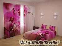 """ФотоКомплект """"Пурпурные орхидеи"""" покрывало и шторы"""