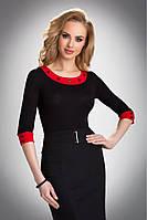 Женская блуза из вискозы черно-красного цвета с рукавом три четверти. Модель Mandy Eldar.