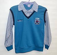 Рубашка-обманка для школы мальчику 6-11 лет Bds темно-лазурная