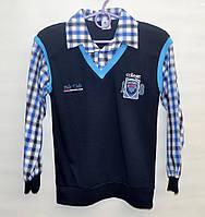 Рубашка-обманка для школы мальчику 6-11 лет Bds темно-синяя