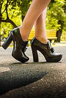 Туфли  из натуральной кожи с бантиком черного цвета на каблуке