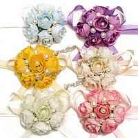 Bridemaid шелк цветок розы жемчужный браслет запястье корсаж свадьба партии свадебные аксессуары.