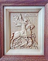 Икона деревянная резная Георгия Победоносца, фото 1