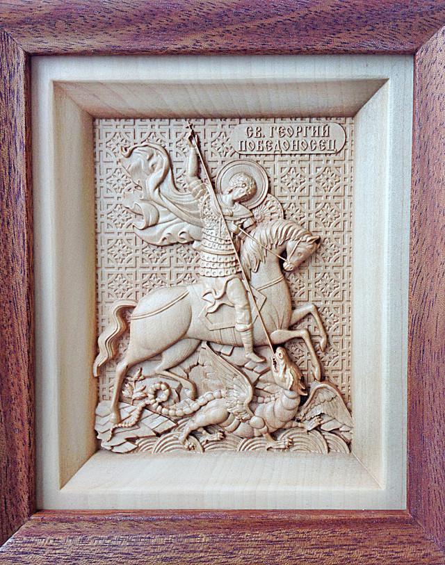 икона резная деревянная георгия победоносца