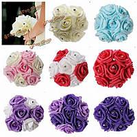 7 голов Colourfast пены розы украшения кристалл искусственный цветок домой букет невесты свадьба вечеринка