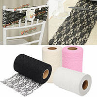 24 ярдов кружева рулон ткани тюль Runner стол стул створка ремесло ручной работы свадьба украшение