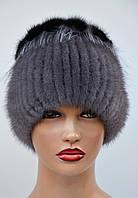 """Женская шапка норковая """"Нашивка-петли"""", фото 1"""