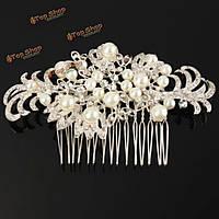 Свадебный свадьба жемчужина кристалл горный хрусталь цветы Diamante зажим для волос расческа Бирде аксессуары для волос, фото 1