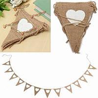 2.8м сердце треугольник шаблон мешковину ткани мешковины деревенское свадьба украшение баннер овсянка