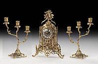 Набор Virtus .Часы настольные Cathedral Flowers +пара канделябров Z.Large на 3 свечи