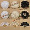 Кружевной зонтик и веер для свадьбы