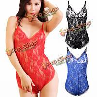 Сексуальные женщины отвесно шнурка Babydoll женское бельё плюшевого пижамы сорочки пижамы