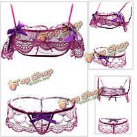 Женщин сексуальный Bowknot шнурка отвесное бикини бюстгальтер набор костюмы эротические сорочки намекает трико