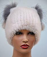 """Норковая шапка женская меховая на вязаной основе """"Кися"""", фото 1"""