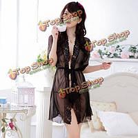 Женщин женское прозрачное вышивки краю кружева пижамы, фото 1
