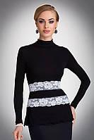 Женская блуза из вискозы черного цвета с длинным рукавом, украшена белым кружевом. Модель Lucrecia Eldar.
