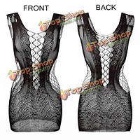 Сексуальная вязания крючком сетки полый сквозной сорочка мини-платье эротическое Bodystocking пижама