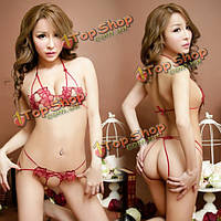 Женщины сексуальные бюстгальтеры кружева цветочные вышивка белье ночное белье