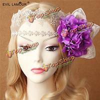 Женщины белая маска принцесса сексуальные кружева сторона цветок золотые листья головной убор маскарад вуаль партия, фото 1