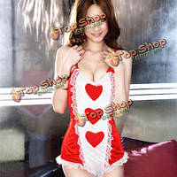 Сексуальные женщины прекрасный персик сердца сиамских кружева медсестра костюм горничной, фото 1