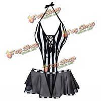 Хэллоуин сексуальная женщина заключенный черные и белые полосы косплей костюмы ночная сорочка белье, фото 1