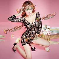 Сексуальные женщины конфеты цвета жаккардовые Bodystocking белье Babydoll пижамы чистая, фото 1