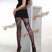 Женщины тонкие сексуальные модели полоса жаккардовые черная сетка колготки чулки