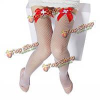 Женщины сексуальный соблазн белый сетки лук бедро высокие чулки, фото 1