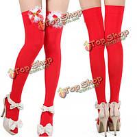 Женщины рождества сексуальный красный Bowknot бедро высокие чулки, фото 1