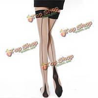 Женщин сексуальный нейлон чистой вертикальной полосатый бедренной кости высокие длинные чулки, фото 1