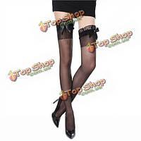 Сексуальная леди женщин атласный бант отвесно оборки жемчужные струна бедренной кости высокие длинные носки, чулки