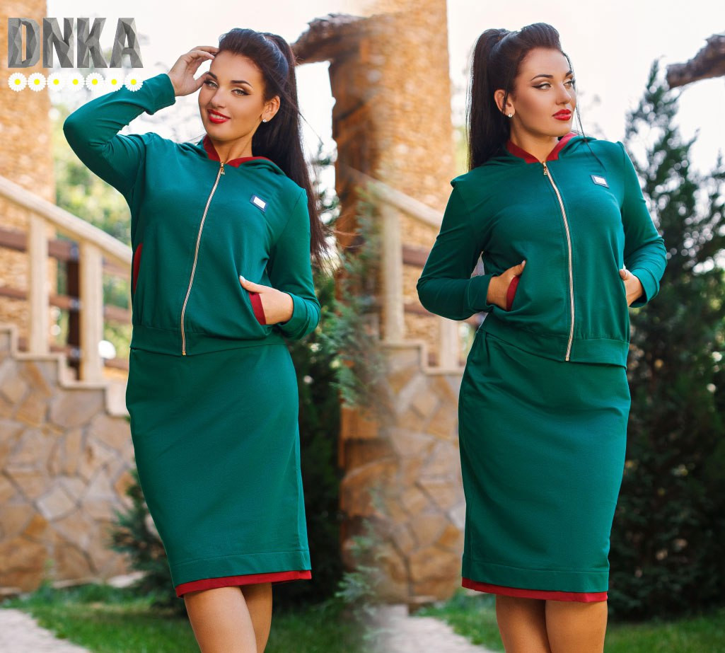 0865906db01 Женский костюм кофта и юбка из турецкой двухнити -